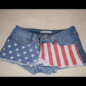 Bullhead Black American Flag Shorts